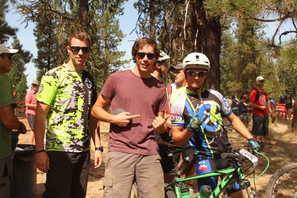 Aaron Buck and Nate Abel cheering on Thomas Harp at Jug Mountain NICA race.